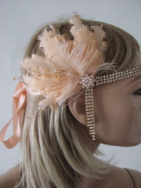 "Peach Goose + Ostrich Feathers and Crystal Headband 1920's Art Deco Gatsby Flapper ""Vera"""